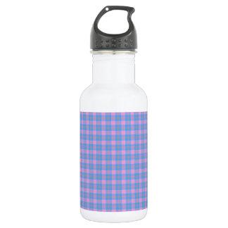 Classic tartan design pink and blue 18oz water bottle