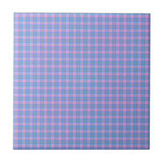 Classic tartan design pink and blue small square tile