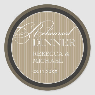 Classic Taupe Pinstripe Rehearsal Dinner Sticker