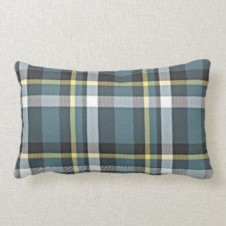 Classic Teal Blue Yellow Tartan Plaid Stripes Lumbar Pillow