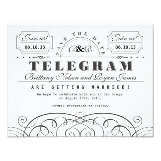 Classic Telegram Save the Date 4.25x5.5 Paper Invitation Card