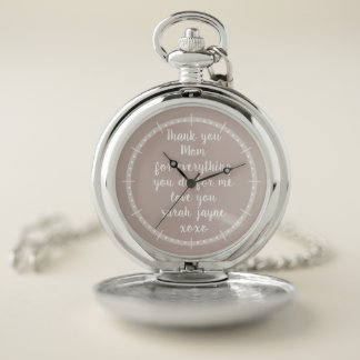 Classic Thank You Message Silver Pocket Watch