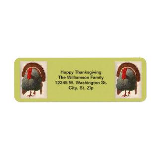 Classic Thanksgiving Turkey Design Custom Name Label