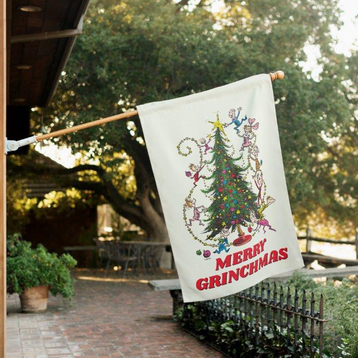 Classic The Grinch Christmas Tree House Flag Zazzle Com