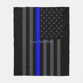 Classic Thin Blue Line Personalized Black US Flag Fleece Blanket