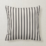 "Classic Ticking Stripe Pattern Black and Cream Throw Pillow<br><div class=""desc"">Classic Ticking Stripe Pattern Black and Cream. This traditional pattern is available in other colors.</div>"