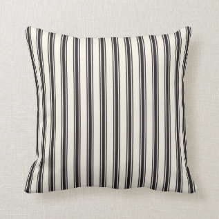 Classic Ticking Stripe Pattern Black And Cream Throw Pillow at Zazzle