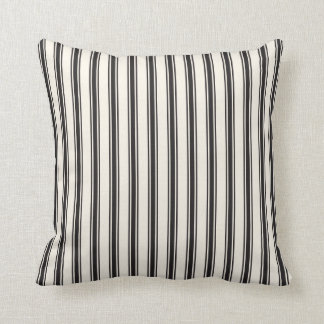 Classic Ticking Stripe Pattern Black and Cream Throw Pillow