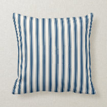 Classic Ticking Stripe Pattern Navy and Cream Throw Pillow
