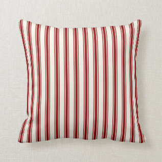 Classic Ticking Stripe Pattern Red And Cream Throw Pillow at Zazzle