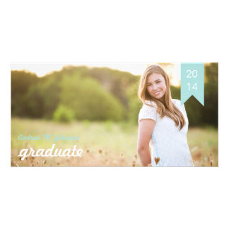 Classic Tiffany Blue Graduation Announcement Photo Card