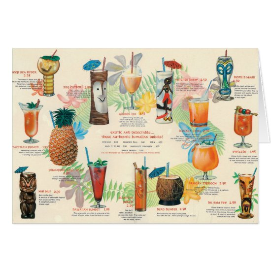 Classic Tiki Cocktail menu card