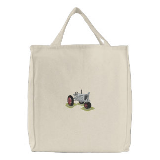 Classic Tractor Embroidered Tote Bag
