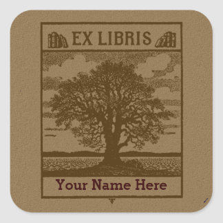 Classic Tree with Books Ex Libris Bookplate