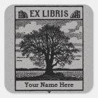 Classic Tree with Books Ex Libris Bookplate - Grey