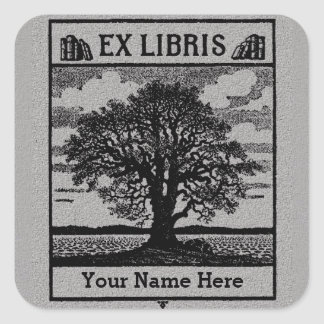 Classic Tree with Books Ex Libris Bookplate - Grey