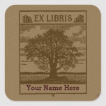 Classic Tree with Books Ex Libris Bookplate Sticker