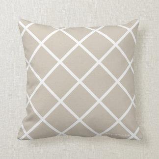 Classic Trellis Pillow in Sand/White