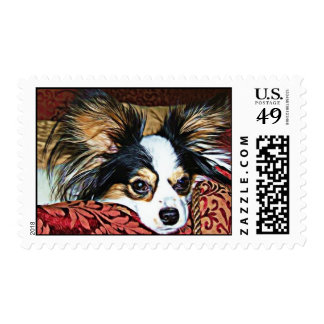 Classic Tri Colored Papillon Lounging Postage
