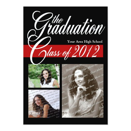 Classic Tri Photo Graduation 2012 Red and Black Card