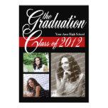 "Classic Tri Photo Graduation 2012 Red and Black 5"" X 7"" Invitation Card"