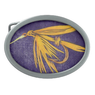 """Classic Trout Fly Belt Buckle """"Big Yellow May"""""""