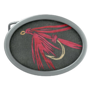"""Classic Trout Fly Belt Buckle """"Red Ibis"""""""