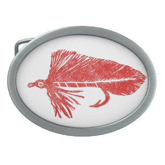 """Classic Trout Fly Belt Buckle """"Red Matuka"""""""