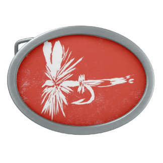 """Classic Trout Fly Belt Buckle """"Royal Coachman Red"""""""