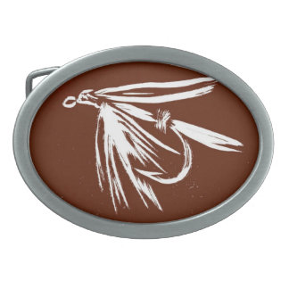 """Classic Trout Fly Belt Buckle """"Wet Fly Brown"""""""