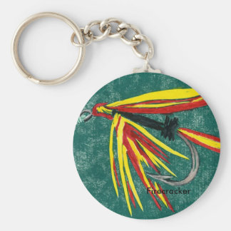 """Classic Trout Fly Keychain """"Firecracker Wet Fly"""""""