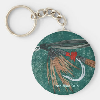 """Classic Trout Fly Keychain """"Iron Blue Dun"""""""