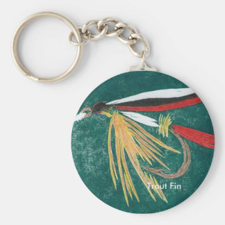 """Classic Trout Fly Keychain """"Trout Fin Wet Fly"""""""