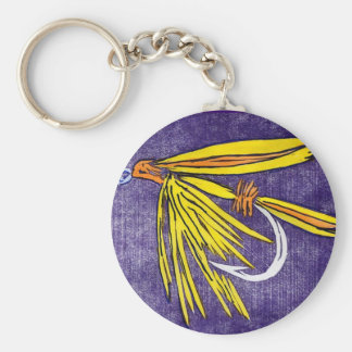 """Classic Trout Fly Keychain """"Yellow and Orange"""""""