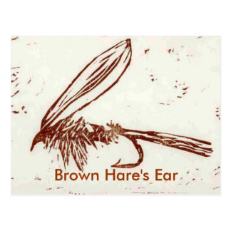 """Classic Trout Fly Postcard """"Brown Hare""""s Ear"""""""