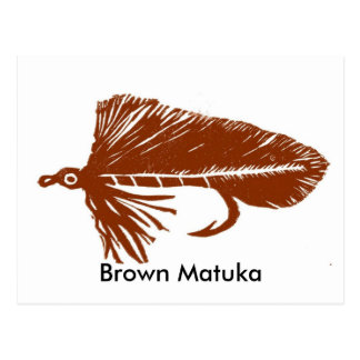 Classic Trout Fly Postcard Brown Matuka