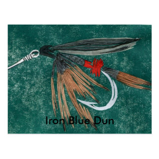 """Classic Trout Fly Postcard """"Iron Blue Dun"""""""