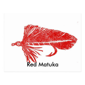 Classic Trout Fly Postcard Red Matuka