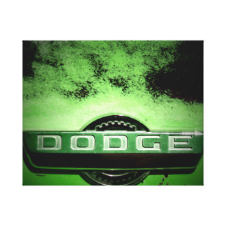 Classic Truck Badge in Green Canvas Print