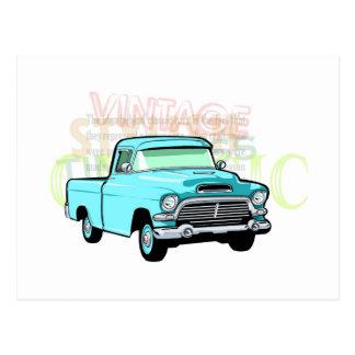 Classic truck in blue, very old semi pickup postcard