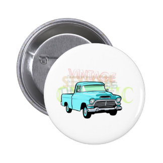 Classic truck in blue, very old turquoise pickup pinback button