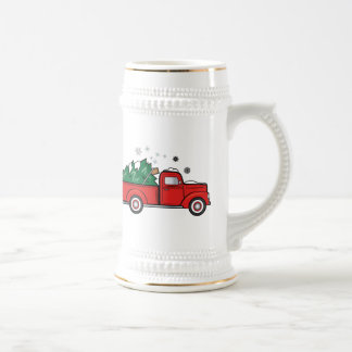 Classic Truck with Christmas Tree and Snow Beer Stein