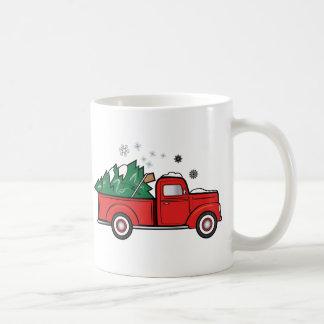Classic Truck with Christmas Tree and Snow Coffee Mug