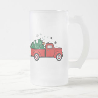 Classic Truck with Christmas Tree and Snow Frosted Glass Beer Mug
