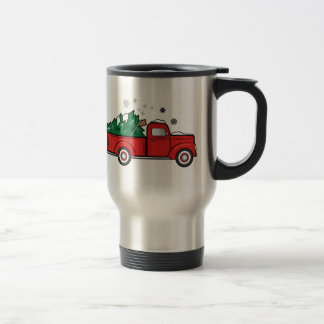 Classic Truck with Christmas Tree and Snow Travel Mug