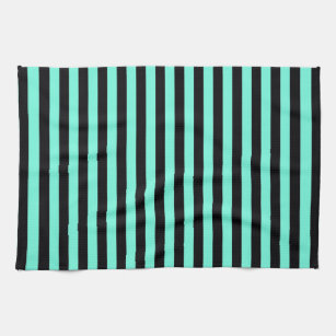 Classic Turquoise And Black Stripe Pattern Kitchen Towel