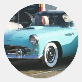 Classic Turquoise Auto Collctor Car Classic Round Sticker