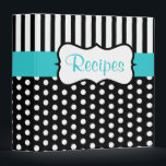 """Classic Turquoise Black Recipe Binder<br><div class=""""desc"""">Classic black and white dots  and a turquoise accent give this recipe binder retro style. Use this empty binder as a recipe organizer,  cookbook,  recipe book,  recipe binder,  etc... The design is from original art.</div>"""