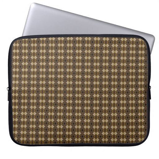 Classic Tweed Style Repeat Pattern in Browns Laptop Sleeve Cases