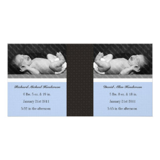 Classic Twin Boys Double New Baby Photo Cards